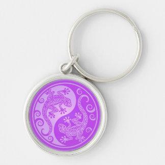 Purple Yin Yang Geckos Keychain