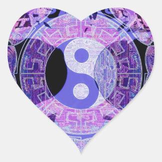 Purple Yin Yang Heart Sticker