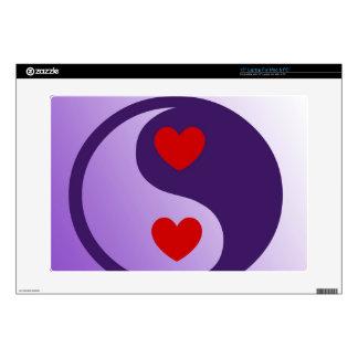 "Purple Yin Yang Hearts 15"" Laptop Decals"