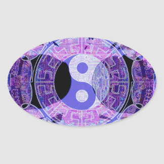 Purple Yin Yang Oval Sticker