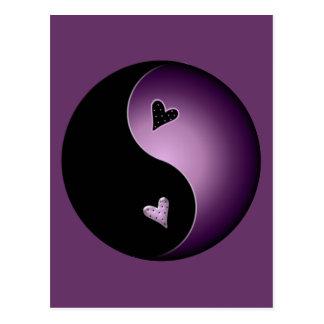 purple yin yang postcard