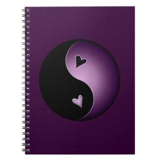 purple yin yang spiral notebook