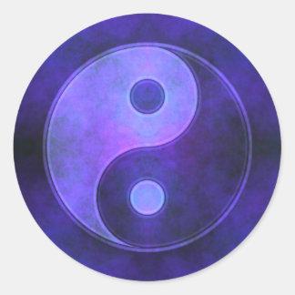Purple Yin Yang Symbol Classic Round Sticker