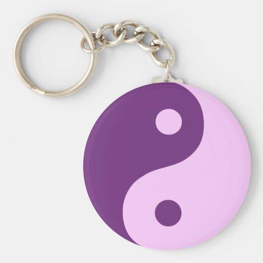 Purple Yin Yang Symbol Keychains
