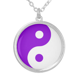 Purple Yin Yang Symbol Silver Plated Necklace