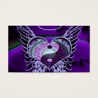 Purple Yin Yang with Mandala Heart Business Card