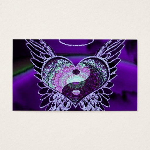 Purple Yin Yang with Mandala Heart Business Card