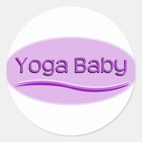 Purple Yoga Baby Classic Round Sticker