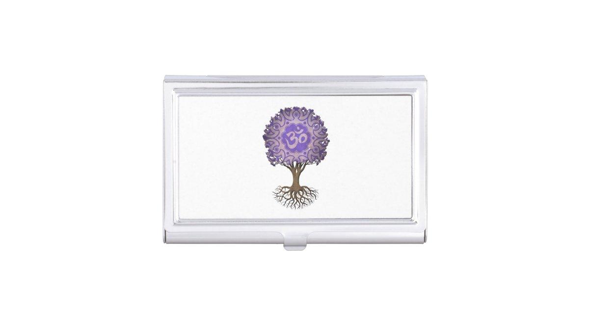 Purple Yoga Om Tree of Life Business Card Holder   Zazzle.com