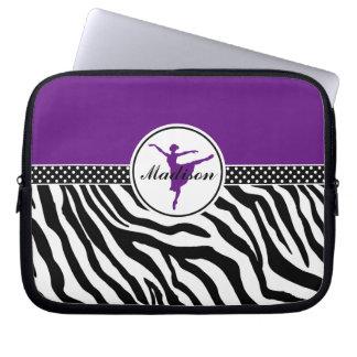 Purple Your Name Zebra Print Ballet Dancer Computer Sleeve