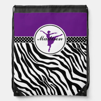 Purple Your Name Zebra Print Ballet Dancer Drawstring Backpack