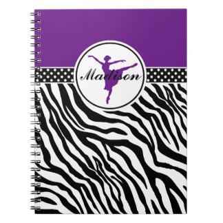 Purple Your Name Zebra Print Ballet Dancer Notebook