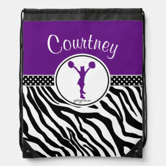 Purple Your Name Zebra Print Cheerleader / Pom Drawstring Bag