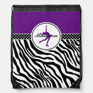 Purple Your Name Zebra Print Figure Skating Drawstring Bag