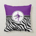 Purple Your Name Zebra Print Figure Skating Pillow