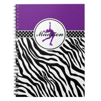 Purple Your Name Zebra Print Figure Skating Spiral Notebook