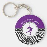 Purple Your Text Zebra Print Figure Skating Basic Round Button Keychain