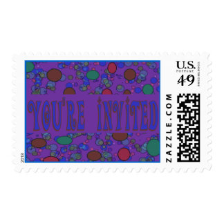 purple you're invited stamp