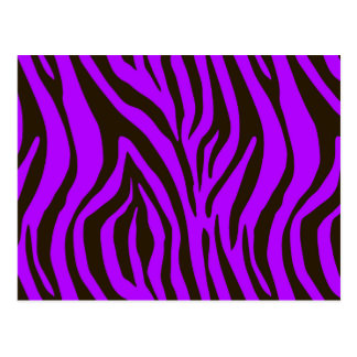 Purple zebra animal print pattern postcard