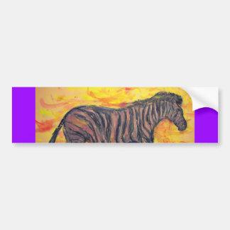 purple zebra art car bumper sticker