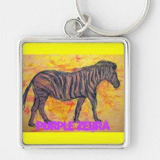 purple zebra art keychain