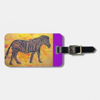 purple zebra art tag for luggage