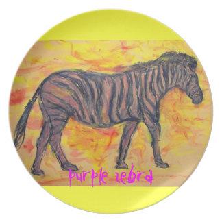 purple zebra art melamine plate