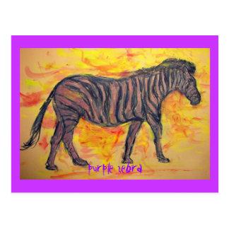 purple zebra art postcard