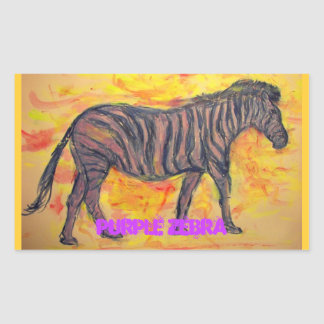 purple zebra art rectangular sticker