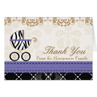 Purple Zebra Baby Carriage Shower Thank You Stationery Note Card