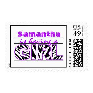 Purple Zebra Baby Girl Shower Postage Stamp