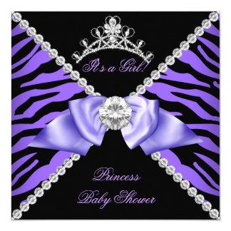 Purple Zebra Baby Shower Girl Princess Diamond Card