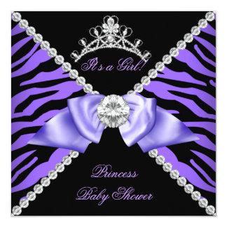 Purple Zebra Baby Shower Girl Princess Diamond Personalized Invites