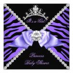 Purple Zebra Baby Shower Girl Princess Diamond 5.25x5.25 Square Paper Invitation Card