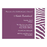 Purple Zebra Bachelorette Party Invitation