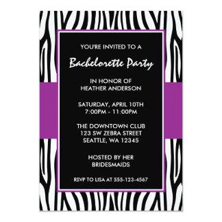 """Purple Zebra Bachelorette Party Invitations 5"""" X 7"""" Invitation Card"""
