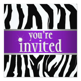 Purple Zebra Birthday Invitation