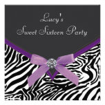 Purple Zebra Birthday Party Custom Invitation