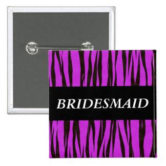 Purple Zebra Bridesmaid Pinback Button
