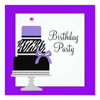 Purple Zebra Cake Cupcake Birthday Party Invitatio Card