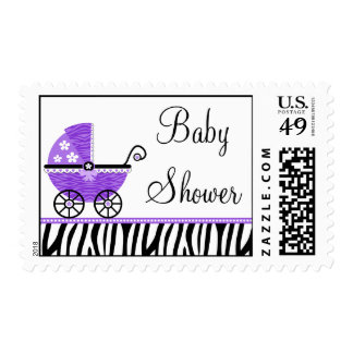 Purple Zebra Carriage Girl Baby Shower Postage Stamps