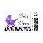 Purple Zebra Carriage Girl Baby Shower Postage Stamp