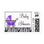 Purple Zebra Carriage Girl Baby Shower Stamp