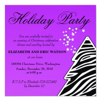 Purple Zebra Christmas Tree Card