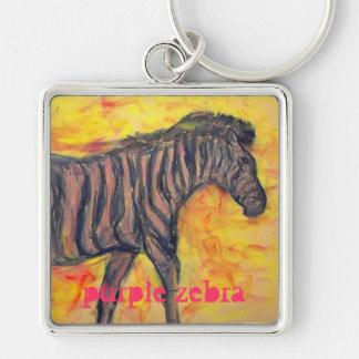 purple zebra design keychain