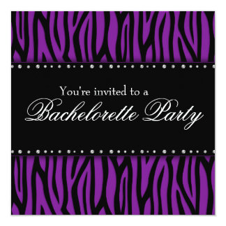 Purple Zebra Diamonds Bachelorette Party Card