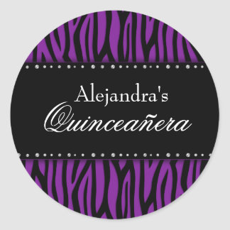 Purple Zebra Diamonds Quinceanera Classic Round Sticker