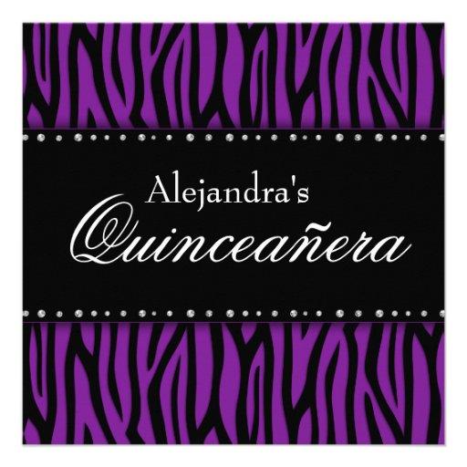 Purple Zebra Diamonds Quinceanera Custom Invite
