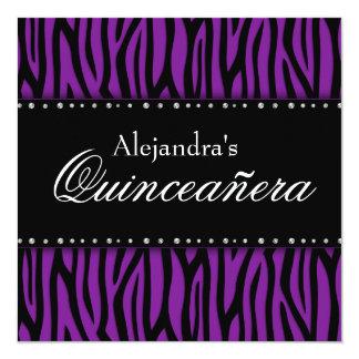 Purple Zebra Diamonds Quinceanera Invitation