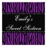 Purple Zebra Diamonds Sweet 16 Birthday Invites